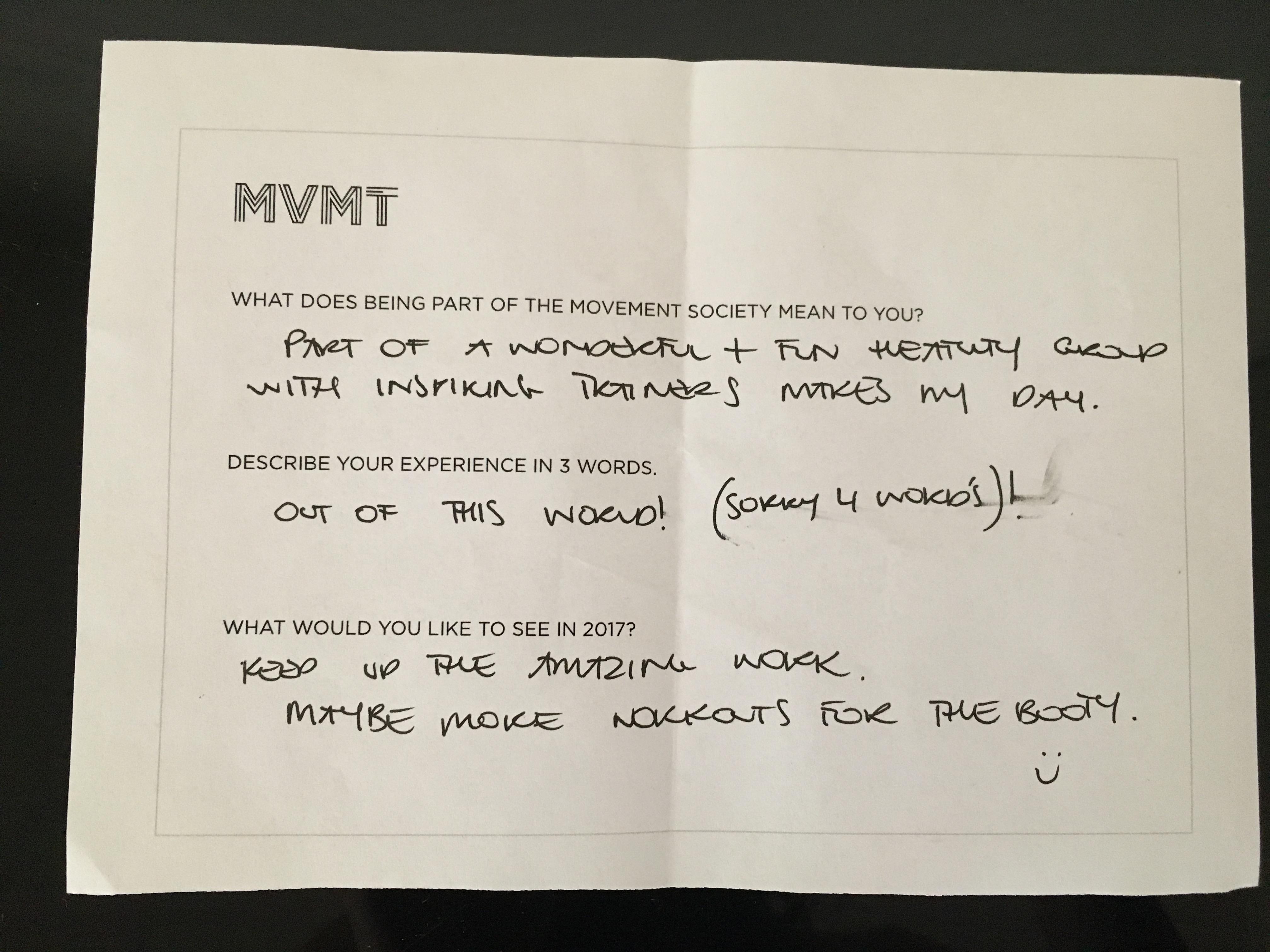 MVMT Feedback